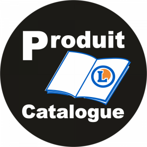 Adhésif logo grande distribution (G.M.S) - LECLERC Produit du Catalogue blanc fond noir