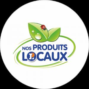 Adhésif logo grande distribution (G.M.S) - LECLERC Nos Produits Locaux bleu fond blanc