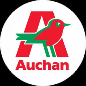 Adhésif logo grande distribution (G.M.S) - AUCHAN rouge et vert fond blanc