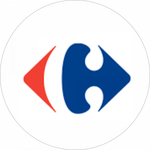 Adhésif logo grande distribution (G.M.S) - Carrefour rouge et bleu fond blanc
