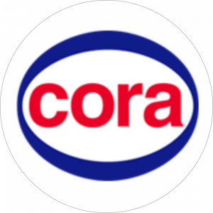 Adhésif logo grande distribution (G.M.S) - CORA bleu et rouge fond blanc