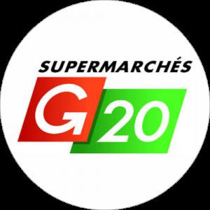 Adhésif logo grande distribution (G.M.S) - G20 rouge et vert fond blanc