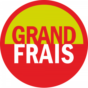 Adhésif logo grande distribution (G.M.S) - GRAND FRAIS rouge, vert et blanc
