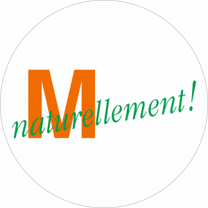 Adhésif logo grande distribution (G.M.S) - MIGROS naturellement ! orange et vert fond blanc
