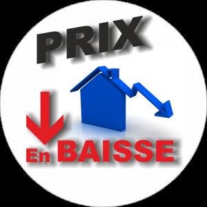Adhésif P.L.V & Display -  Prix en baisse noir-bleu-rouge fond blanc