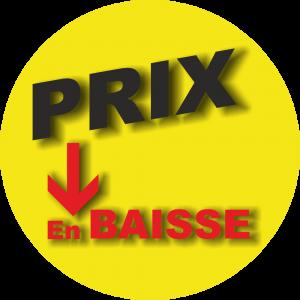 Adhésif P.L.V & Display -  Prix en baisse noir-rouge fond jaune