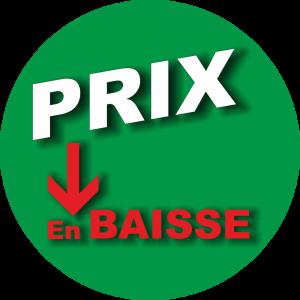 Adhésif P.L.V & Display -  Prix en baisse blanc-rouge fond vert
