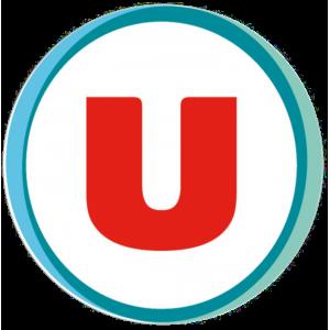 Adhésif logo grande distribution (G.M.S) - Système U rouge fond blanc
