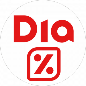 Adhésif logo grande distribution (G.M.S) - Dia rouge fond blanc