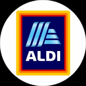 Adhésif logo grande distribution (G.M.S) - ALDI blanc fond bleu