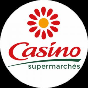 Adhésif logo grande distribution (G.M.S) - Casino Supermarchés rouge et vert fond blanc