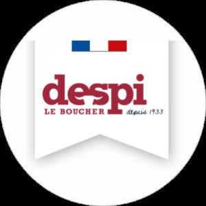 Adhésif logo grande distribution (G.M.S) - Despi bordeaux fond blanc