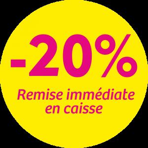 Adhésif REMISE -20% remise immédiate en caisse - magenta fond jaune