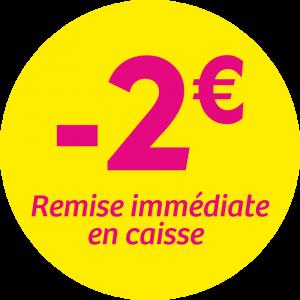 Adhésif REMISE -2€ remise immédiate en caisse - magenta fond jaune
