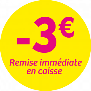 Adhésif REMISE -3€ remise immédiate en caisse - magenta fond jaune
