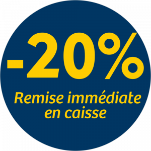 Adhésif REMISE -20% remise immédiate en caisse - jaune sur bleu nuit