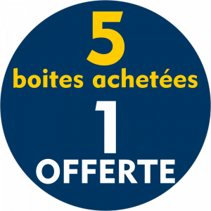 Adhésif REMISE 5 boites achetées 1 OFFERTE jaune sur bleu nuit