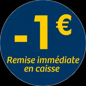 Adhésif REMISE -1€ remise immédiate en caisse - jaune sur bleu nuit