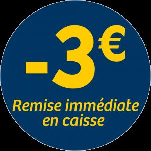 Adhésif REMISE -3€ remise immédiate en caisse - jaune sur bleu nuit