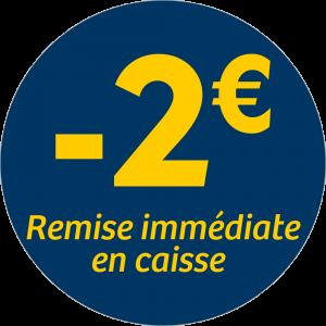 Adhésif REMISE -2€ remise immédiate en caisse - jaune sur bleu nuit