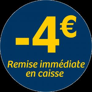 Adhésif REMISE -4€ remise immédiate en caisse - jaune sur bleu nuit