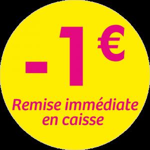 Adhésif REMISE - 1€ remise immédiate en caisse - magenta fond jaune