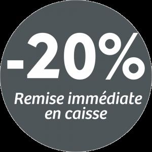 Adhésif REMISE -20% remise immédiate en caisse - blanc sur gris foncé