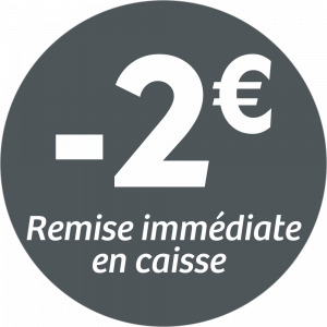 Adhésif REMISE -2€ remise immédiate en caisse - blanc sur gris foncé