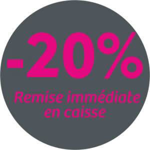 Adhésif REMISE -20% remise immédiate en caisse - magenta sur gris foncé