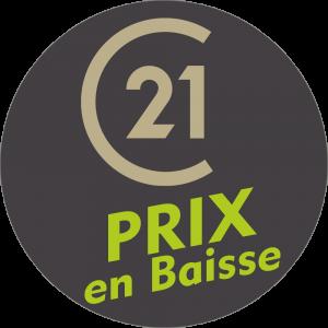 Adhésif P.L.V & Display -  C21 PRIX en Baisse beige/vert fond gris foncé