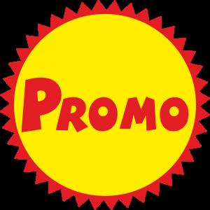 Adhésif Promo Rouge rond jaune sur dentelé rouge
