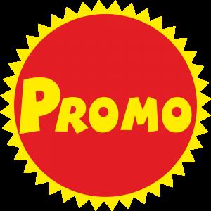 Adhésif Promo Jaune rond rouge sur dentelé jaune
