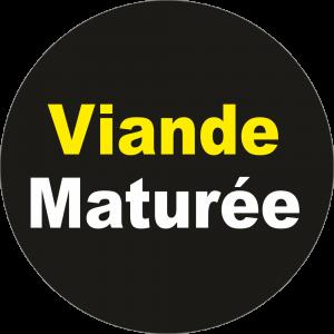 Adhésif Information Clientèle - Viande Maturée jaune/blanc sur noir