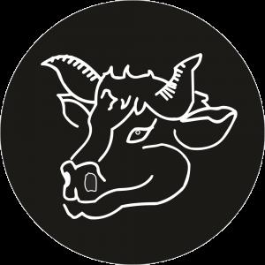 Adhésif tête animal - Vache - blanc fond noir