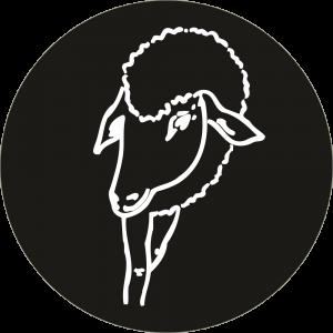Adhésif tête animal - Brebis - blanc fond noir