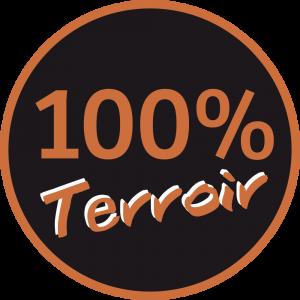 Adhésif 100 % Terroir marron fond noir