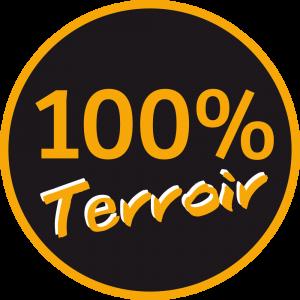 Adhésif 100 % Terroir orange clair fond noir