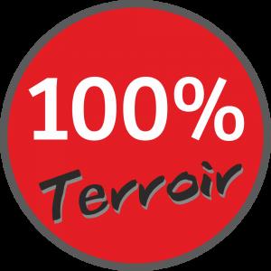 Adhésif 100% Terroir blanc et gris foncé sur rouge