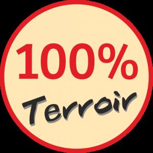Adhésif 100 % Terroir rouge et noir fond beige