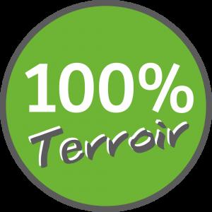 Adhésif 100% Terroir blanc et gris foncé sur vert