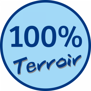 Adhésif 100% Terroir bleu nuit sur bleu ciel