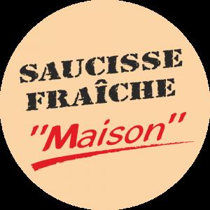 Adhésif Conseil Clientéle - Saucisse Fraîche Maison - fond beige