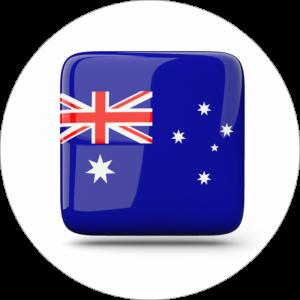 Adhésif drapeau pays - AUSTRALIE - bleu/rouge sur blanc