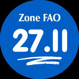 Adhésif Zone de pêche FAO - 27.II / blanc sur bleu