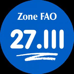 Adhésif Zone de pêche FAO - 27.III / blanc sur bleu