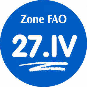 Adhésif Zone de pêche FAO - 27.VI / blanc sur bleu