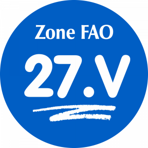 Adhésif Zone de pêche FAO - 27.V / blanc sur bleu