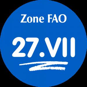 Adhésif Zone de pêche FAO - 27.VII / blanc sur bleu