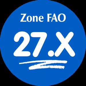 Adhésif Zone de pêche FAO - 27.X / blanc sur bleu