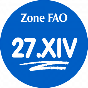 Adhésif Zone de pêche FAO - 27.XIV / blanc sur bleu